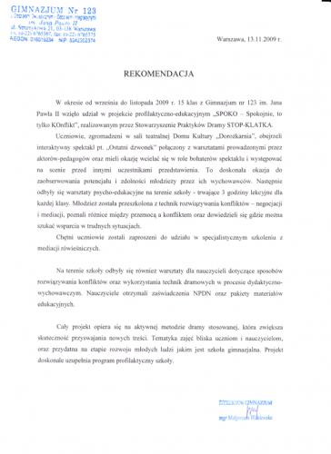 Rekomendacja gimnazjum nr 123
